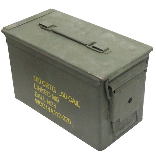 "50 CALIBER AMMO BOX 11"" X 5-3/4"" X 7-1/8"""