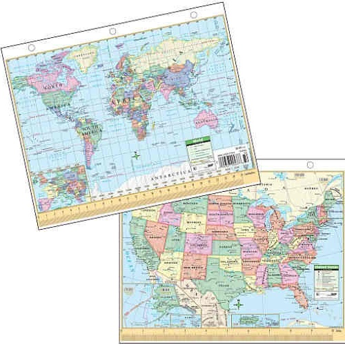 "LAMINATED 8-1/2"" X 11"" NOTEBOOK U.S. MAP"