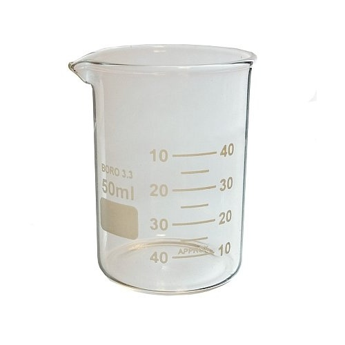 BEAKER, 50ML, HEAT RESISTANT GLASS, 50MM X 40MM