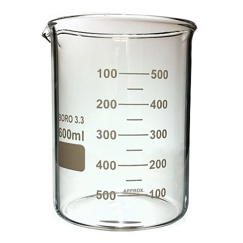 BEAKER, 600ML, HEAT RESISTANT GLASS, 90MM X 124MM