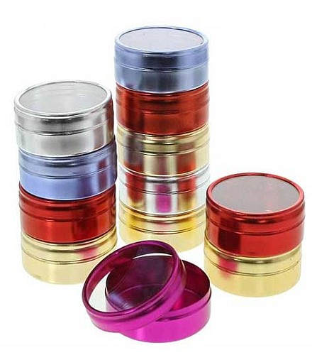 ASSORTED COLORED ALUMINUM CANISTERS (12) 2""