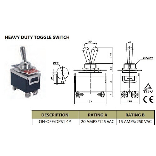 DPST TOGGLE SWITCH 20A (B)