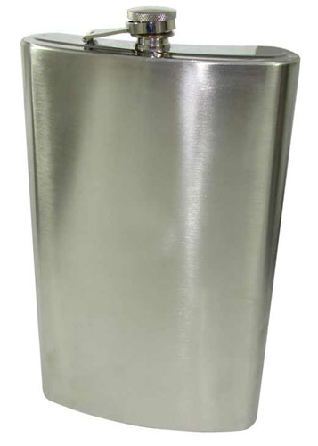 "11-1/2"" TALL 64-OUNCE STAINLESS  HIP FLASK"