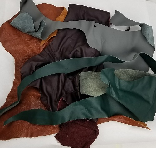 2 LBS ASSORTED REAL LEATHER SCRAPS