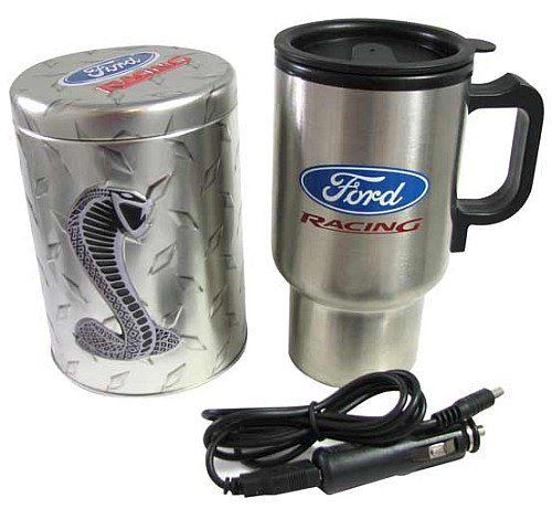 FORD HOT TRAVEL MUG/COOKIE TIN SET