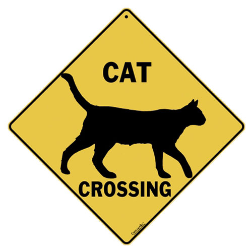 ALL METAL CAT CROSSING SIGN