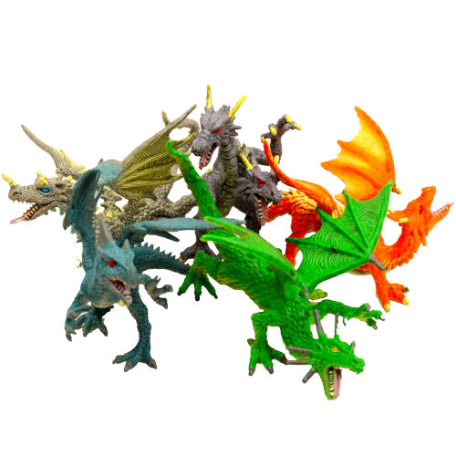 ASSORTED SNARLING DETAILED PLASTIC DRAGONS