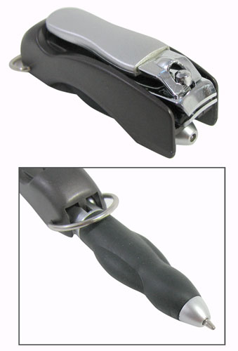 FOLDING PEN WITH NAIL CLIPPER