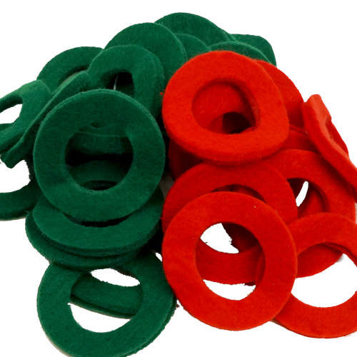 CRAFTERS GREEN AND RED FELT WASHERS