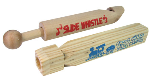 WOODEN TRAIN AND SLIDE WHISTLE SET