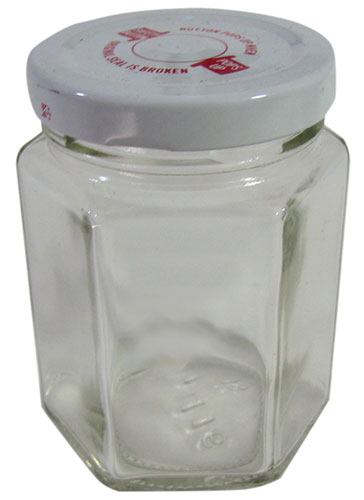 HEXAGONAL 6.5 OZ CLEAR GLASS JARS