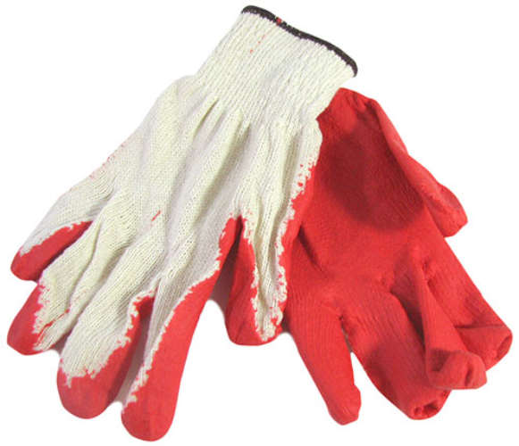 CLOTH GLOVES WITH RUBBER PALMS