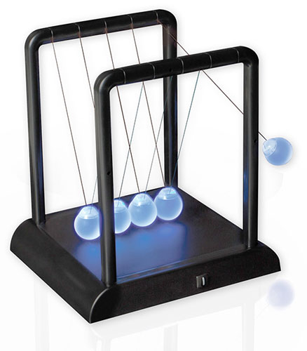 BLUE GLOWING LED NEWTON'S CRADLE