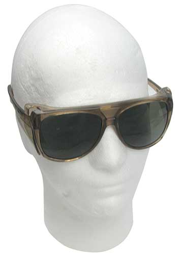 DARK SAFETY GLASSES WITH BROWN FRAMES
