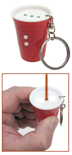 RED CUP LASER ON A KEY RING