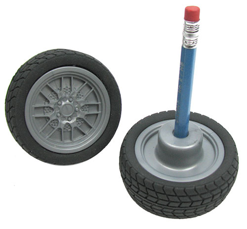 TIRE-STYLE PENCIL ERASERS W/ SHARPENER