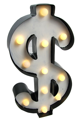 RETRO-STYLE LIGHTED DOLLAR SIGN