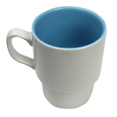 WHITE/BLUE STACKING CERAMIC MUGS