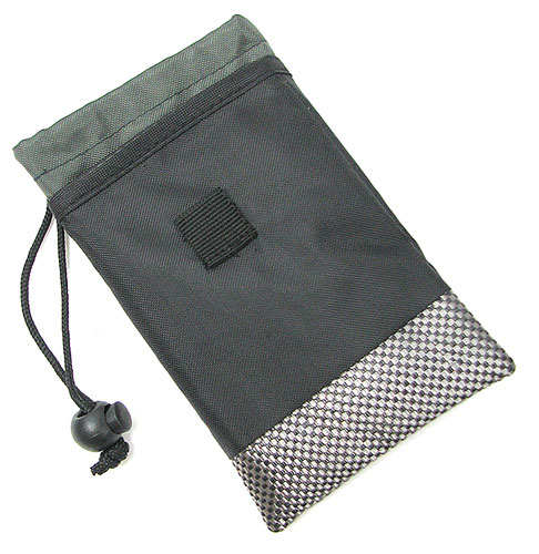 BLACK PADDED DRAWSTRING POUCH