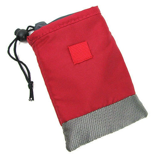 RED PADDED DRAWSTRING POUCH