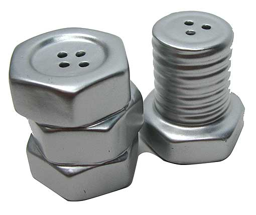 NUT & BOLT SALT AND PEPPER SHAKERS