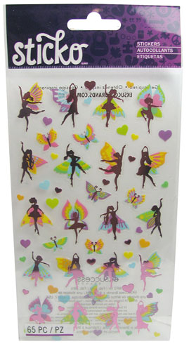 ASSORTED FAIRY, BUTTERLY AND HEART STICKERS
