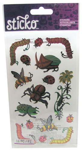 ASSORTED COLORFUL INSECT STICKERS