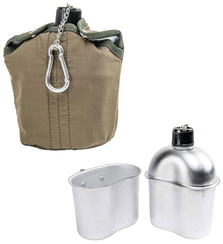 ALUMINUM ARMY-STYLE CANTEEN