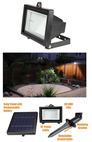 iZOOM® SOLAR RECHARGEABLE LED FLOODLIGHT