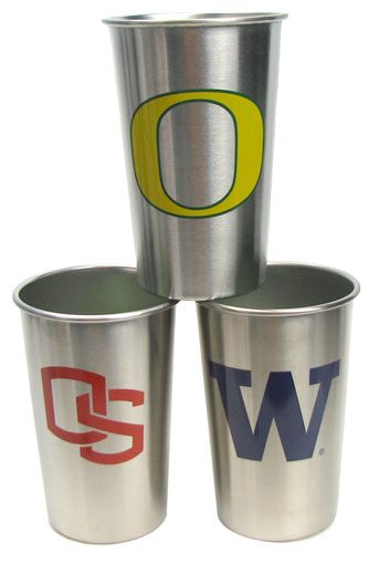 COLLEGE LOGO STAINLESS STEEL TUMBLERS