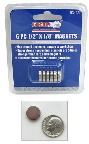6 NICKEL-PLATED NEODYMIUM MAGNETS
