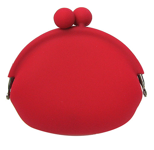 RED COIN PURSE WITH SNAP CLOSURE