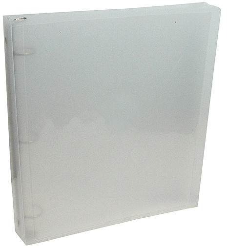 FROSTED WHITE PLASTIC THREE-RING BINDERS WITH SLEEVE ON COVER
