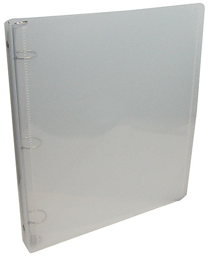 TEXTURED WHITE PLASTIC THREE-RING BINDERS WITH SLEEVES ON INSIDE COVERS