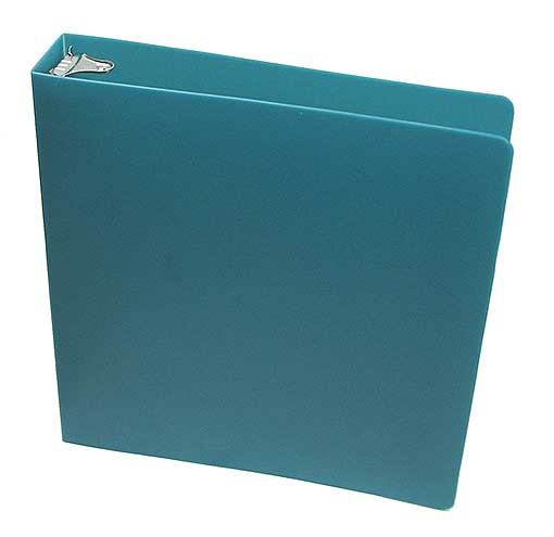 "PLASTIC 1.5"" RING AQUA BINDER WITH THICK COVER"