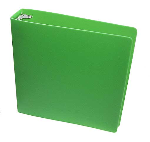 "PLASTIC 1.5"" RING GREEN BINDER WITH THIN COVER"