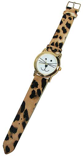 KITTY WATCH WITH LEOPARD BAND