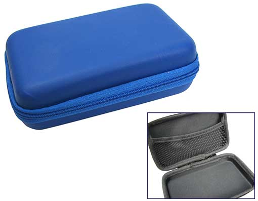 BLUE ZIPPERED TRAVEL CASE