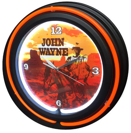 JOHN WAYNE DOUBLE NEON WALL CLOCK