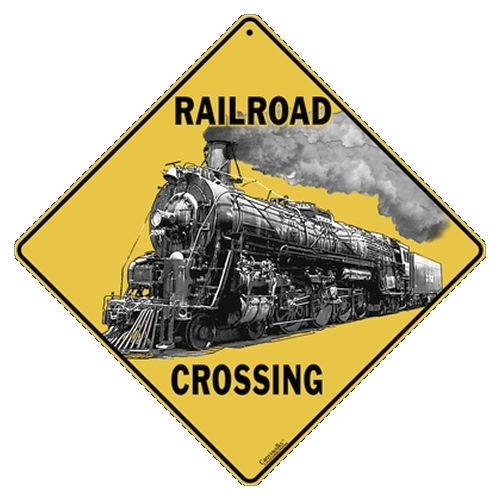 ALL METAL STEAMTRAIN CROSSING SIGN