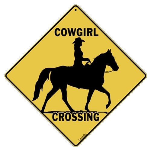 ALL METAL COWGIRL CROSSING SIGN