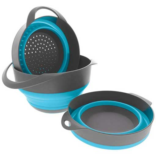 COLLAPSING SILICONE NESTING BOWLS AND COLANDER