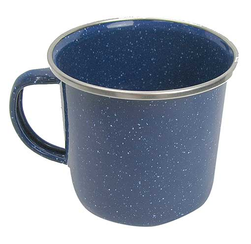 ENAMELED BLUE STEEL MUG