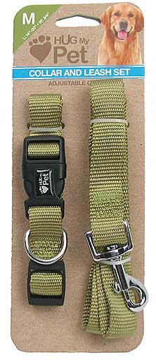 MEDIUM DOG COLLAR AND LEASH SET