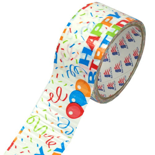 "HAPPY BIRTHDAY DUCT TAPE DESIGN 1-7/8"" X 10 YD"