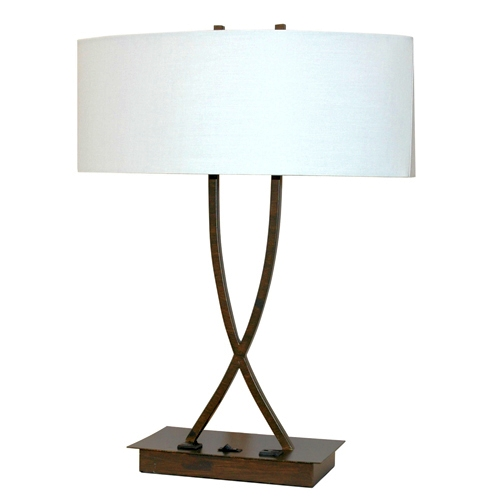 DARK BRONZE DUAL SOCKET TABLE LAMP WITH 2 OUTLET BASE