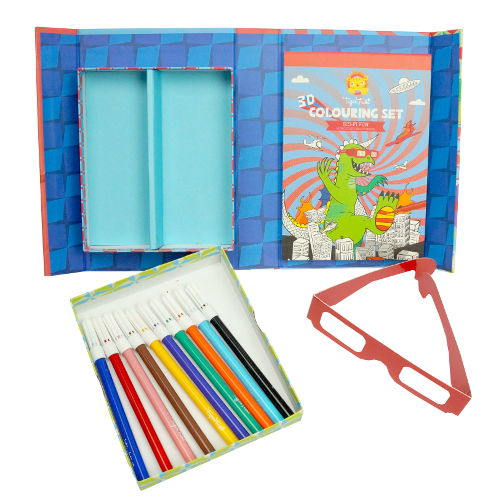 3-D COLORING BOOK SET WITH MARKERS