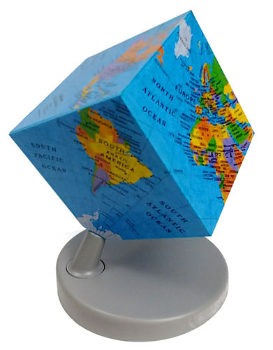 SPINNING  POLITICAL EARTH CUBE GLOBE