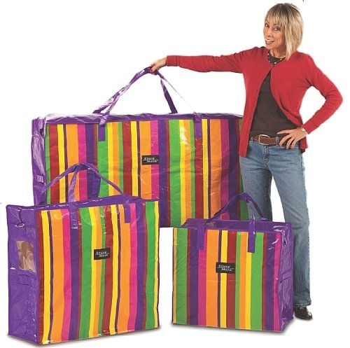3-PACK JUMBO TOTE STORAGE BAGS BRIGHT COLORS
