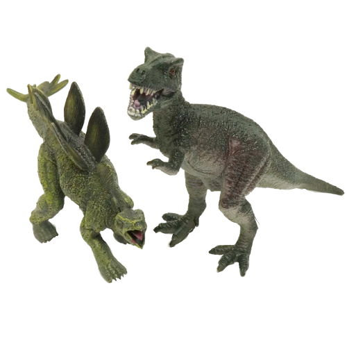 FIGHTING STEGOSAURUS AND T-REX FIGURES